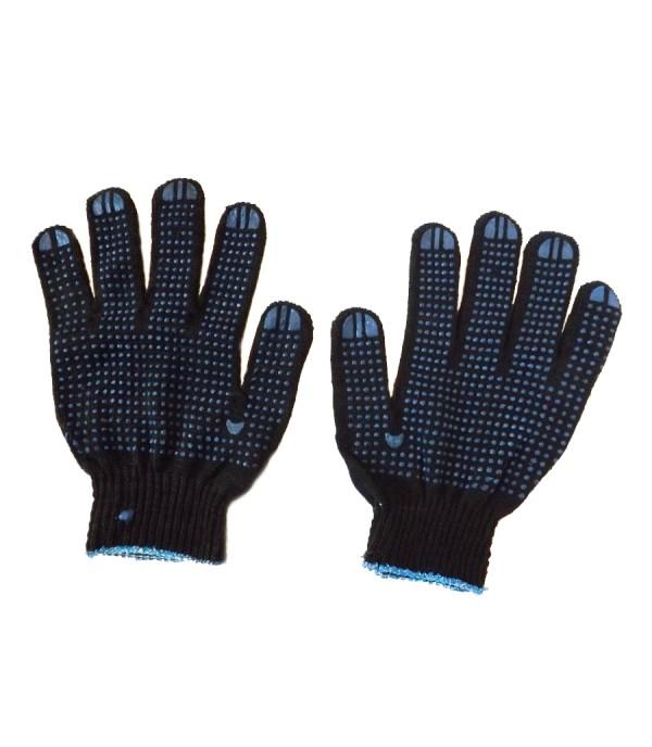 Перчатки рабочие х/б черные с ПВХ нанесением 2 пары APRO 11102