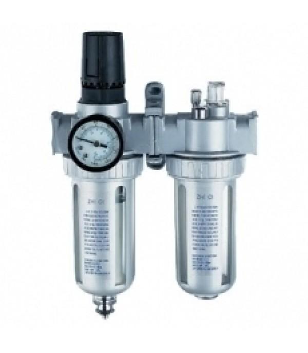 Блок подготовки воздуха для пневмосистемы 1/2''(фильтр-регулятор + лубрикатор, диапазон регулировки давления 0-10bar температура воздуха 5-60С 10Мк) Forsage  F-AFRL804